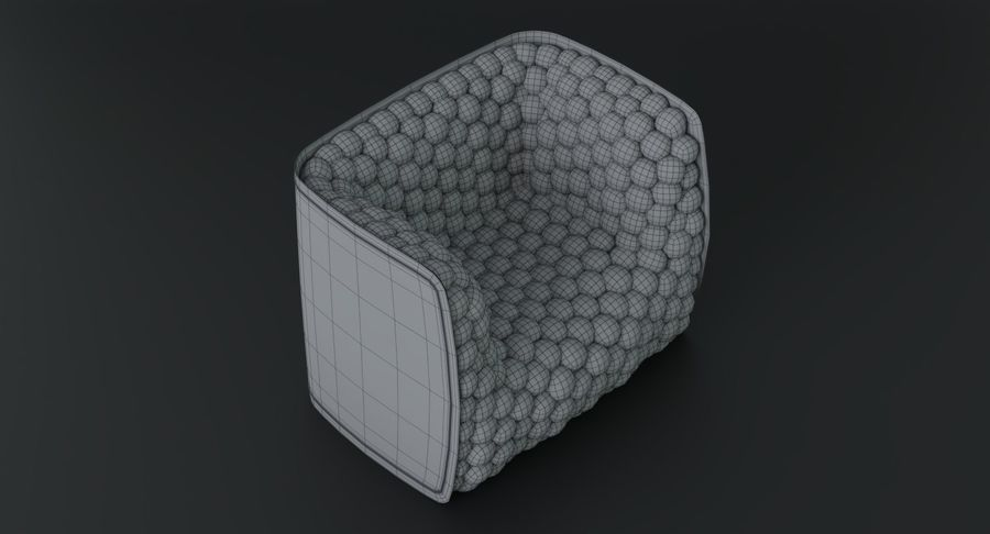 Armchair soft cubes modern royalty-free 3d model - Preview no. 24