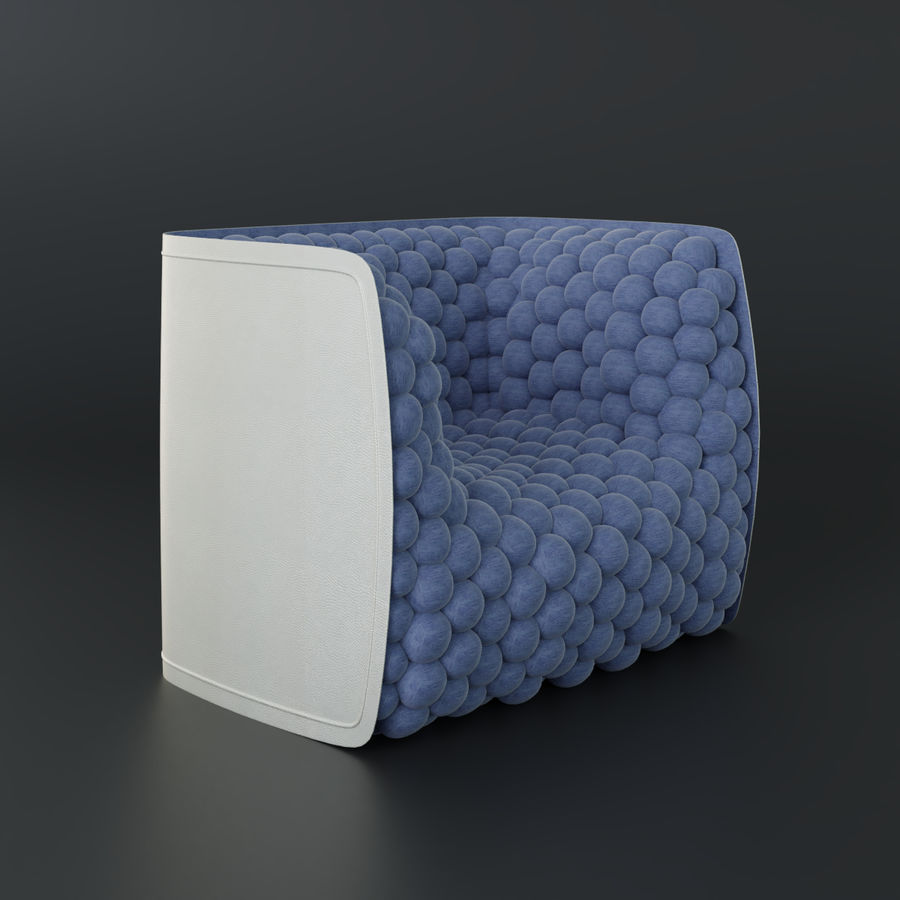 Armchair soft cubes modern royalty-free 3d model - Preview no. 3