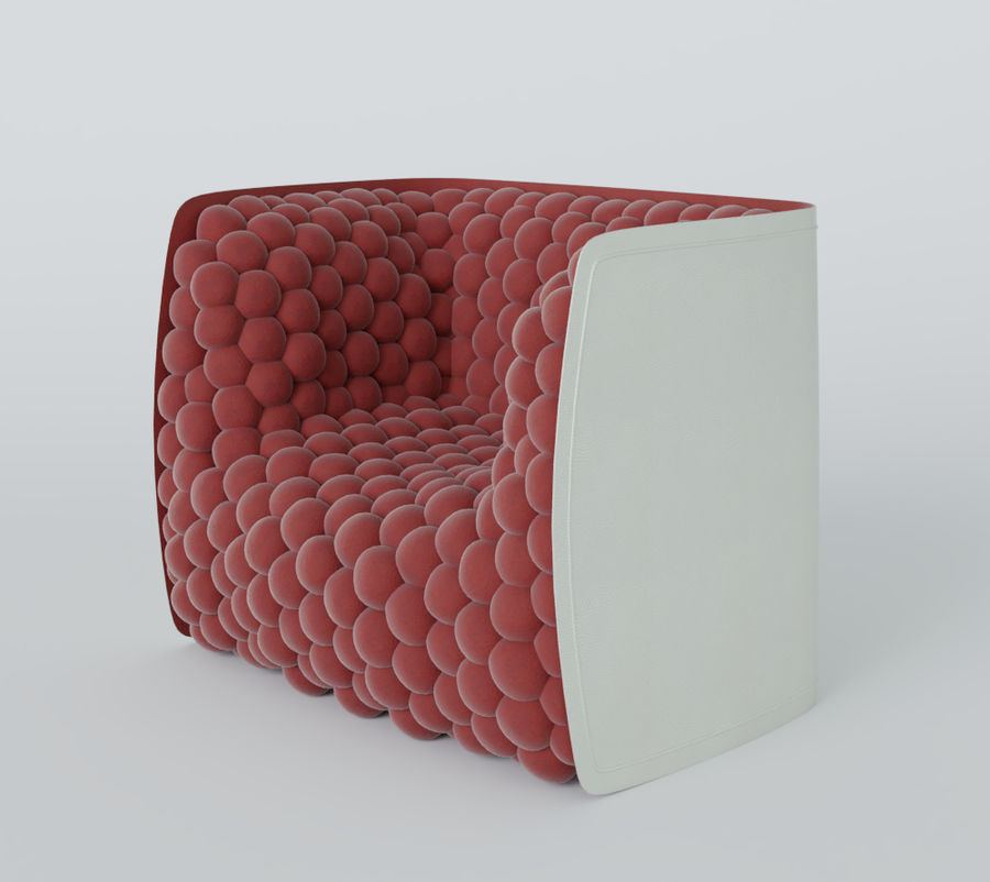 Armchair soft cubes modern royalty-free 3d model - Preview no. 14