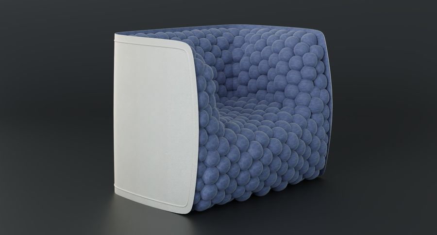 Armchair soft cubes modern royalty-free 3d model - Preview no. 4