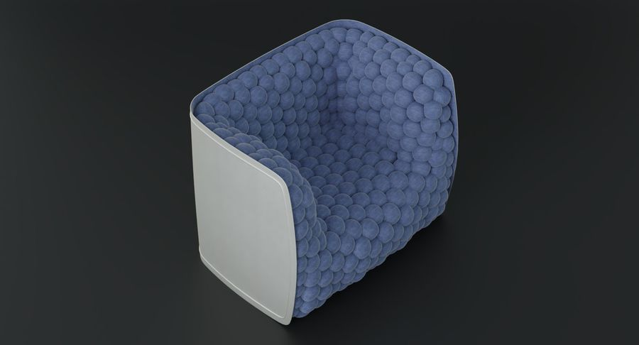 Armchair soft cubes modern royalty-free 3d model - Preview no. 7