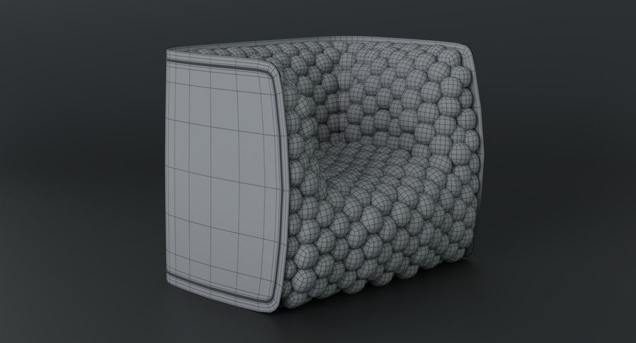 Armchair soft cubes modern royalty-free 3d model - Preview no. 23