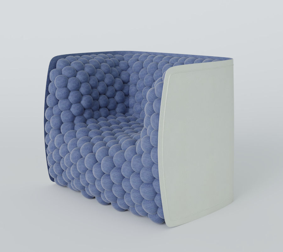 Armchair soft cubes modern royalty-free 3d model - Preview no. 13