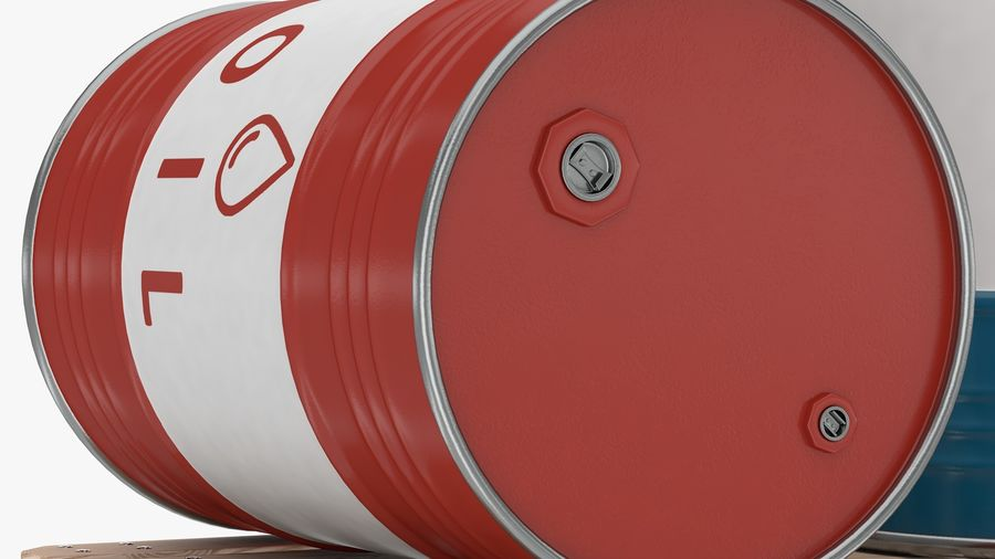 Steel Barrel with pallet_01 royalty-free 3d model - Preview no. 3