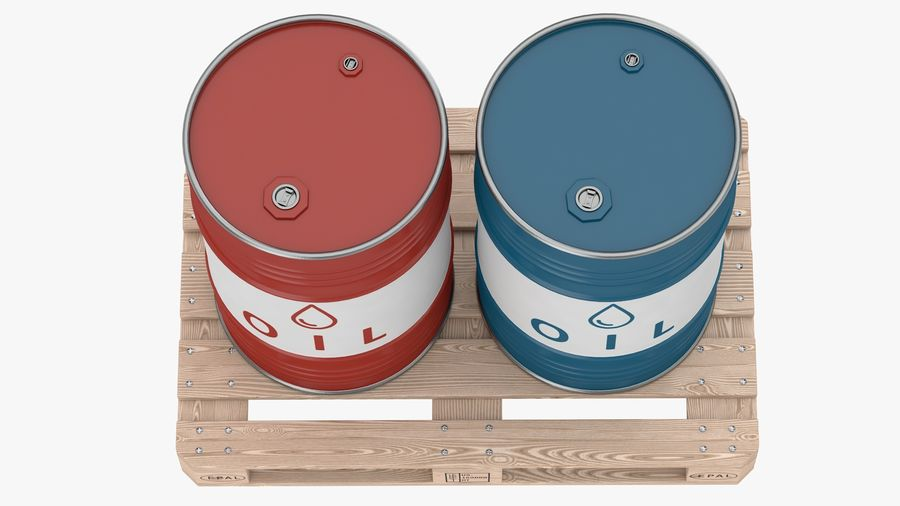 Steel Barrel with pallet_01 royalty-free 3d model - Preview no. 5
