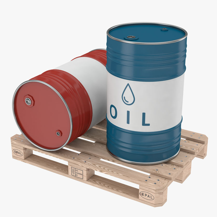 Steel Barrel with pallet_01 royalty-free 3d model - Preview no. 1
