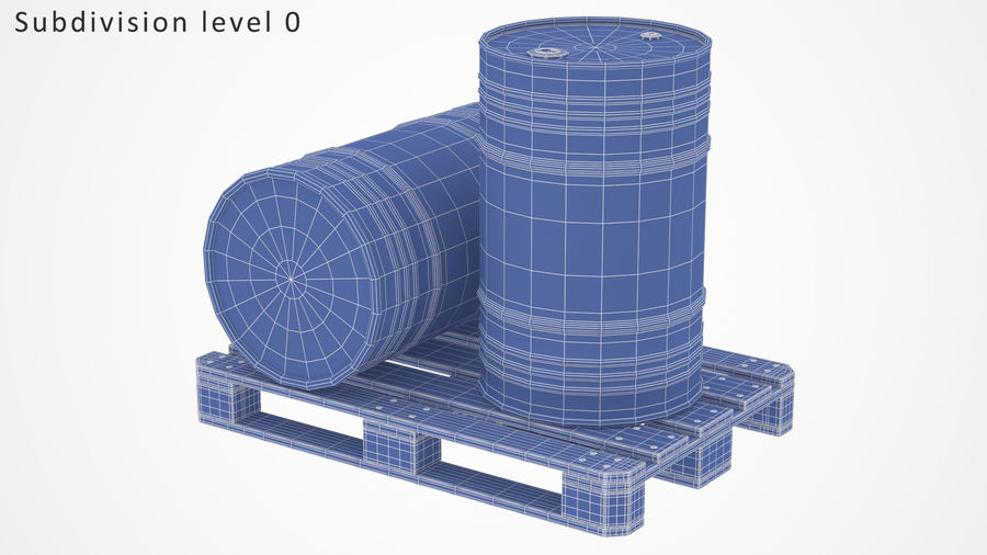 Steel Barrel with pallet_01 royalty-free 3d model - Preview no. 9