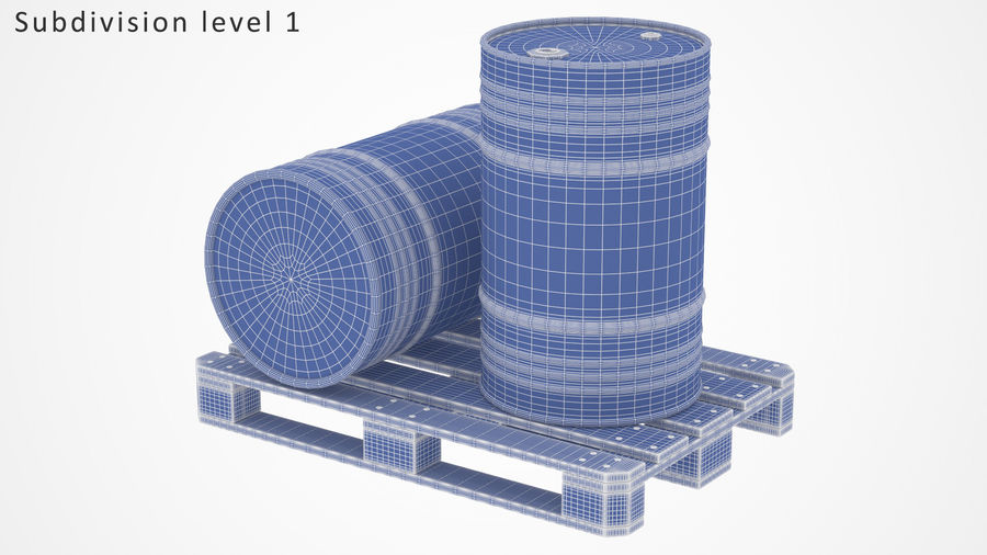 Steel Barrel with pallet_01 royalty-free 3d model - Preview no. 10