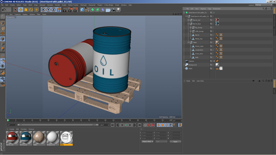 Steel Barrel with pallet_01 royalty-free 3d model - Preview no. 14
