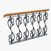 wrought-iron fencing with dragon head 3d model