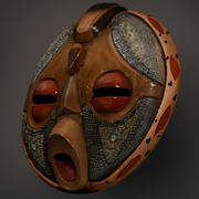 African Round Mask 3d model