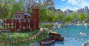 하우스 바다 경치 3d model