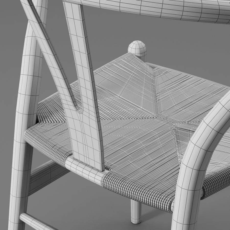 Krzesło Wishbone CH24 royalty-free 3d model - Preview no. 19