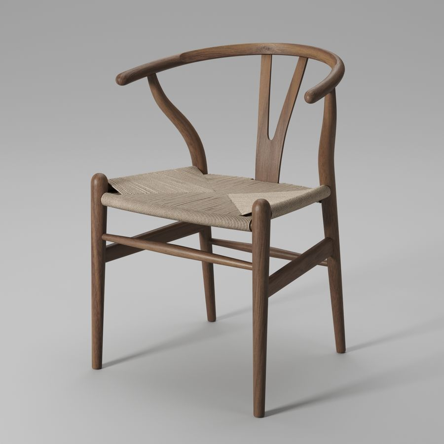 Krzesło Wishbone CH24 royalty-free 3d model - Preview no. 6