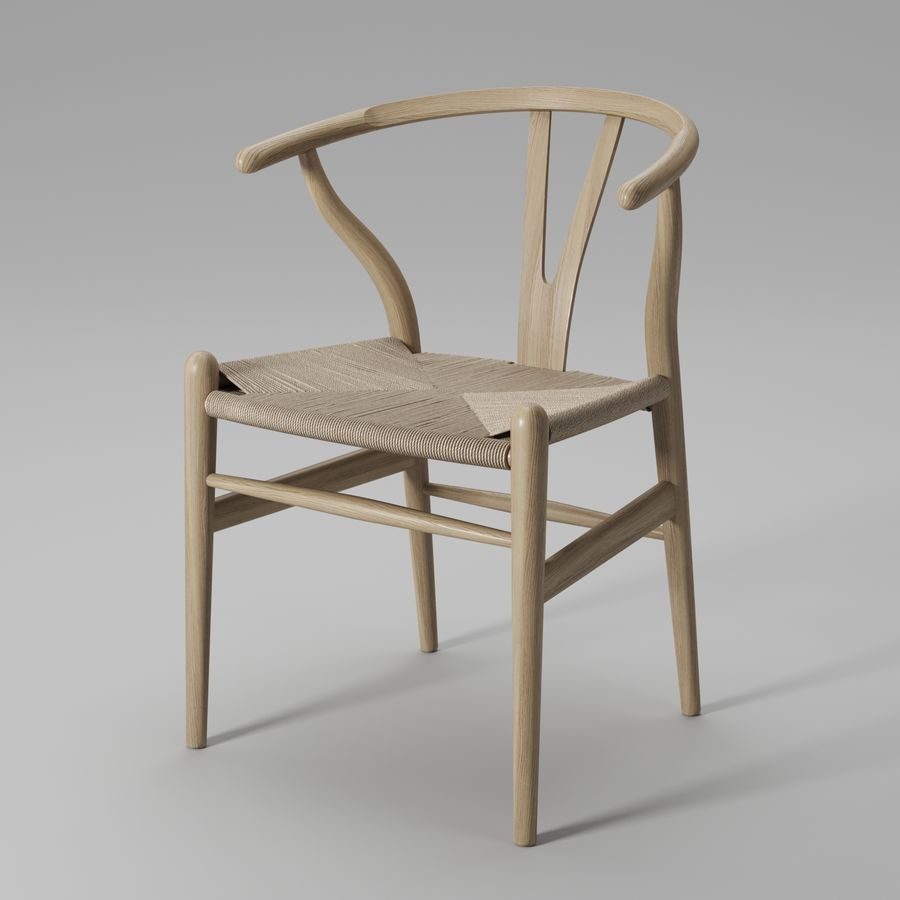 Krzesło Wishbone CH24 royalty-free 3d model - Preview no. 7