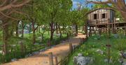 Chemin de chalet en bois 3d model
