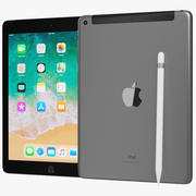 Apple iPad 9.7 2018 + Wifi / Cellular & Pencil Space Grey 3d model