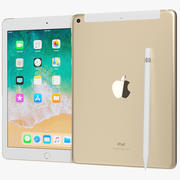 Apple iPad 9.7 2018 + Wifi / Cellular & Pencil Gold 3d model