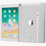 Apple iPad 9.7 2018 + Wifi / Cellular & Pencil Silver 3d model