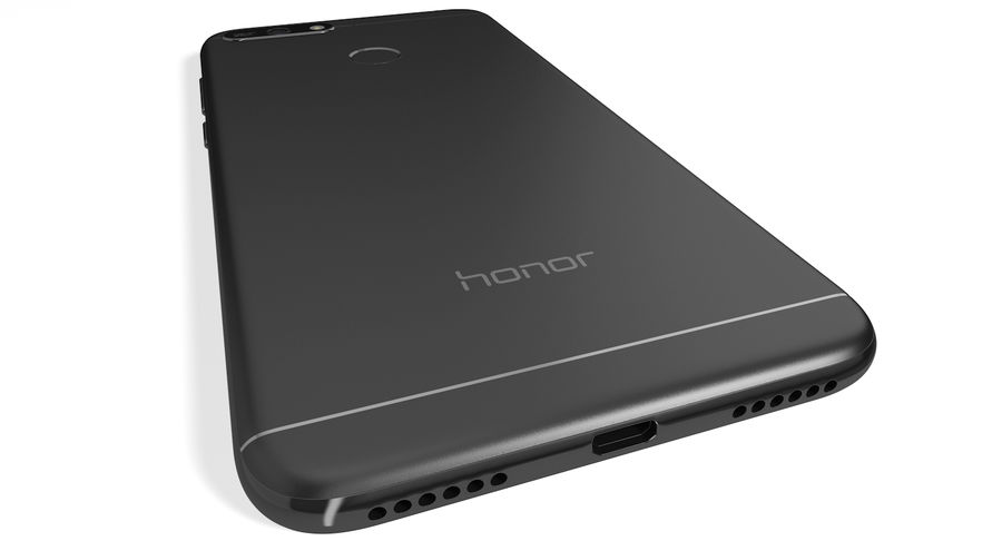 Honor 7A Black royalty-free 3d model - Preview no. 6