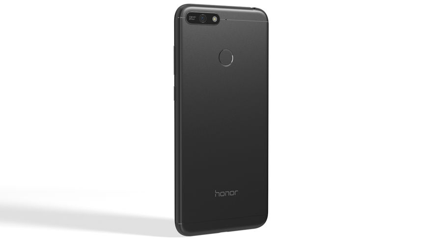 Honor 7A Black royalty-free 3d model - Preview no. 3