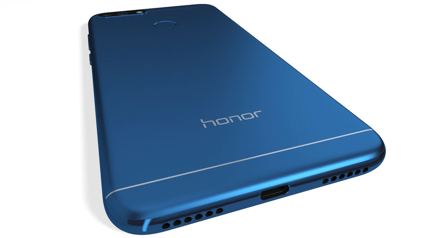 Honor 7A Blue royalty-free 3d model - Preview no. 6