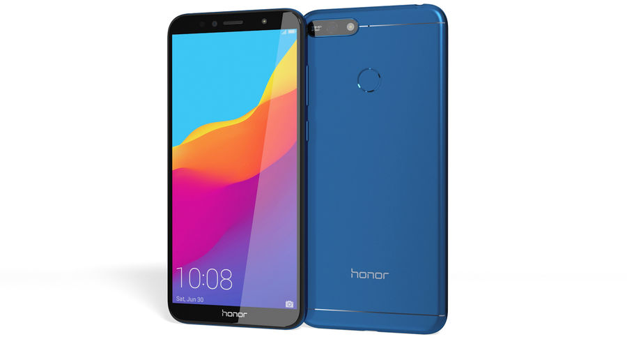 Honor 7A Blue royalty-free 3d model - Preview no. 2
