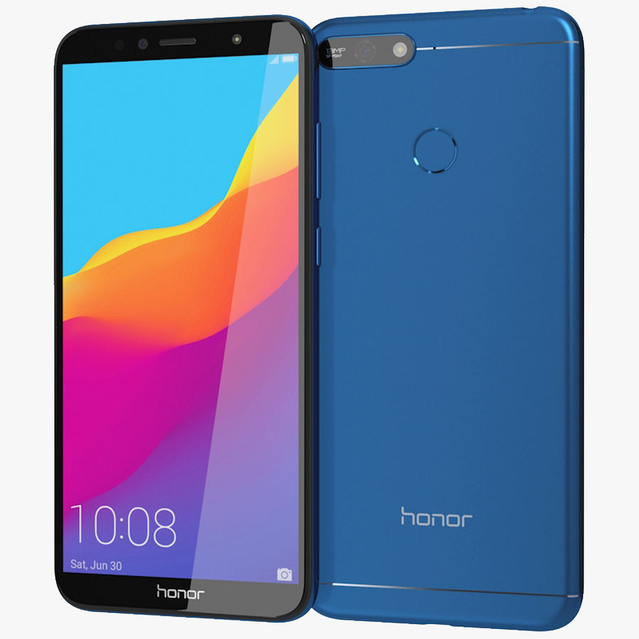 Honor 7A Blue royalty-free 3d model - Preview no. 1