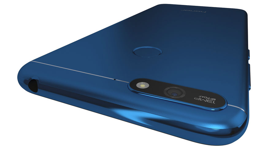 Honor 7A Blue royalty-free 3d model - Preview no. 8