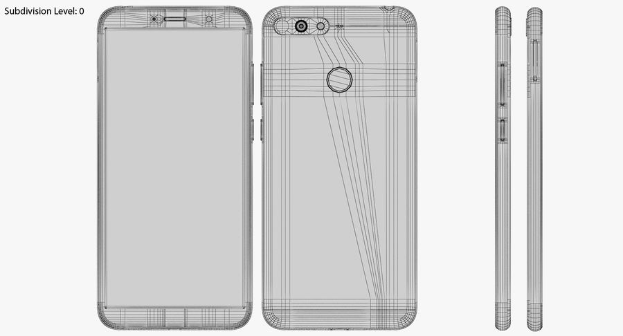 Honor 7A Gold royalty-free 3d model - Preview no. 19