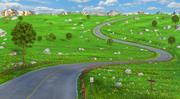 Meadow Road Cartoon 3d model