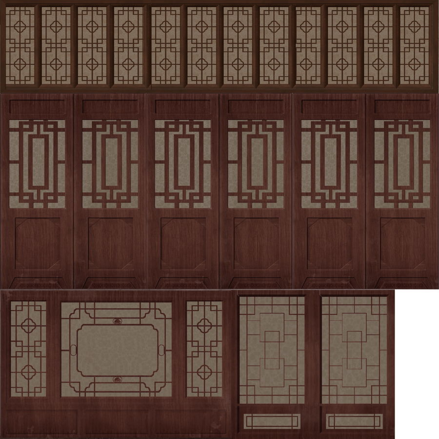 chinese ancient architecture royalty-free 3d model - Preview no. 4