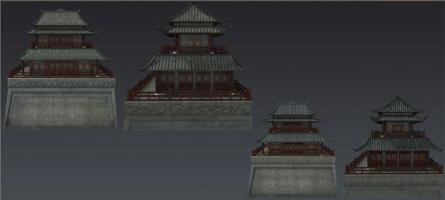 chinese ancient architecture royalty-free 3d model - Preview no. 1