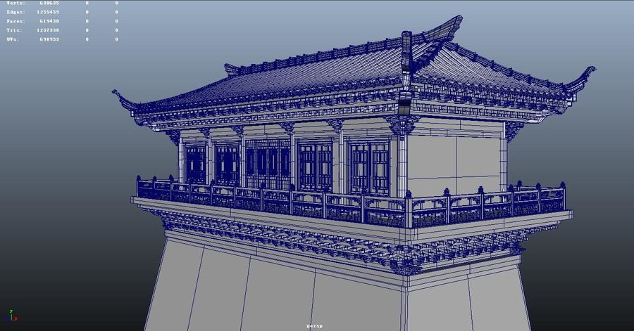 Arquitectura antigua china royalty-free modelo 3d - Preview no. 5