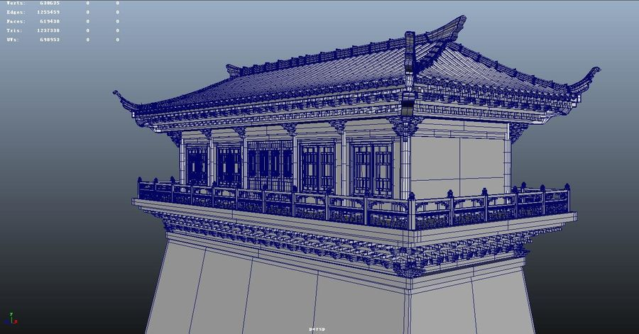 Chinese ancient architecture royalty-free 3d model - Preview no. 5