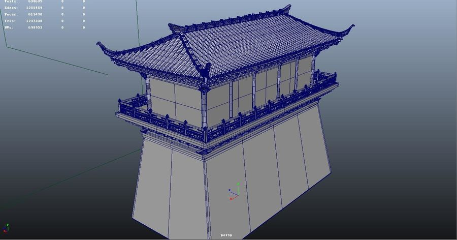 Arquitectura antigua china royalty-free modelo 3d - Preview no. 4