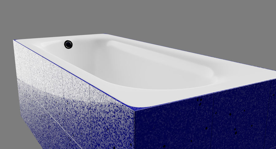 Niebieskie światło kafelkowe wanny royalty-free 3d model - Preview no. 4