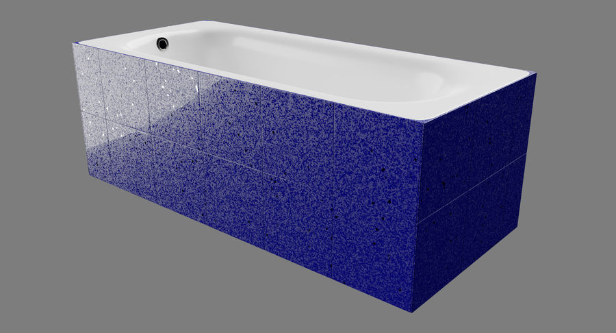 Niebieskie światło kafelkowe wanny royalty-free 3d model - Preview no. 3