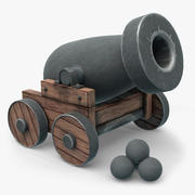 Cartoon Old Pirate's Cannon 3d model