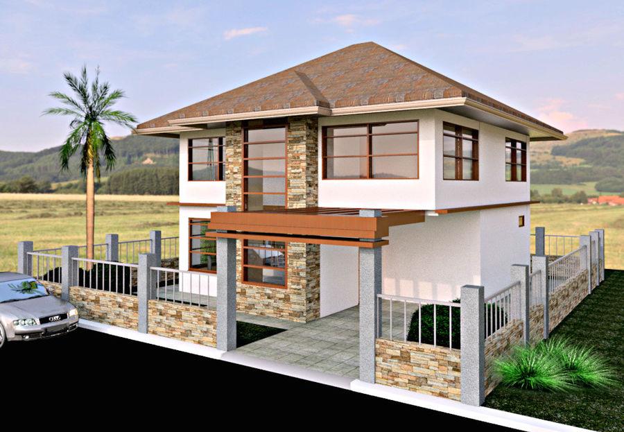 2层建筑房屋 royalty-free 3d model - Preview no. 1