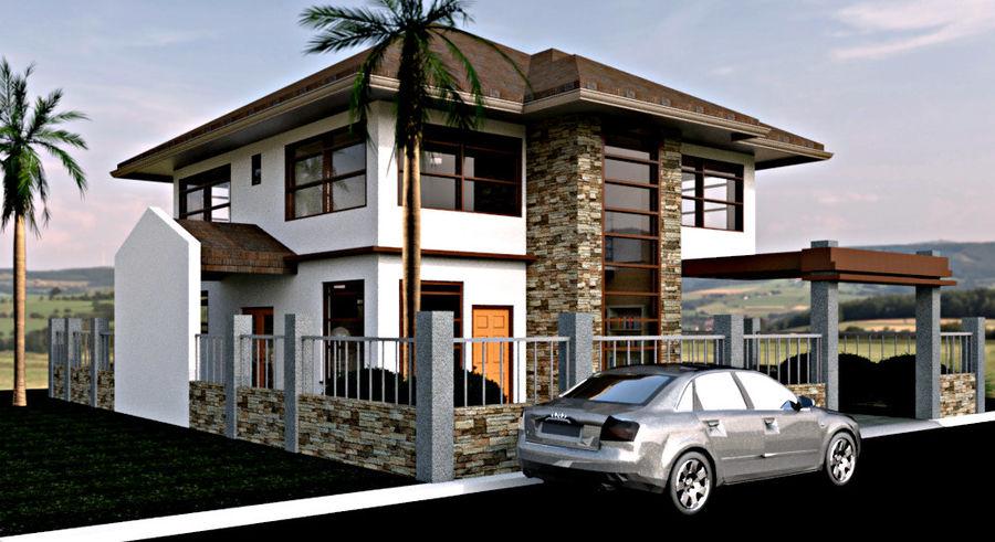 2层建筑房屋 royalty-free 3d model - Preview no. 2
