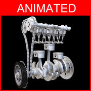Three cylinder engine Animated 3d model