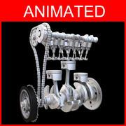 Trzy cylindrowy silnik animowany 3d model