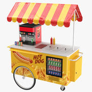 Hot Dog Food Cart 3d model