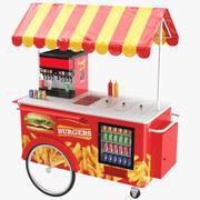 Wózek z hamburgerami 3d model