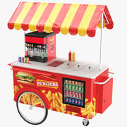 Hamburger Food Cart 3d model