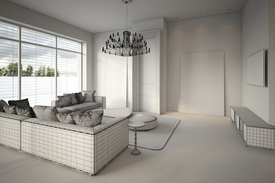Modernes Interieur royalty-free 3d model - Preview no. 6