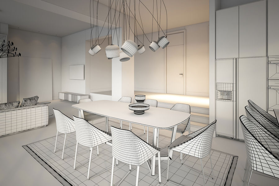 Modernes Interieur royalty-free 3d model - Preview no. 7