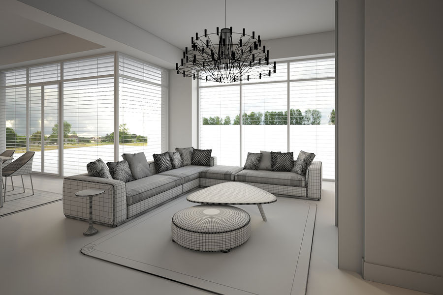 Modernes Interieur royalty-free 3d model - Preview no. 8