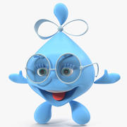 Personaje de dibujos animados de gota de agua Lady Rigged para Maya modelo 3d
